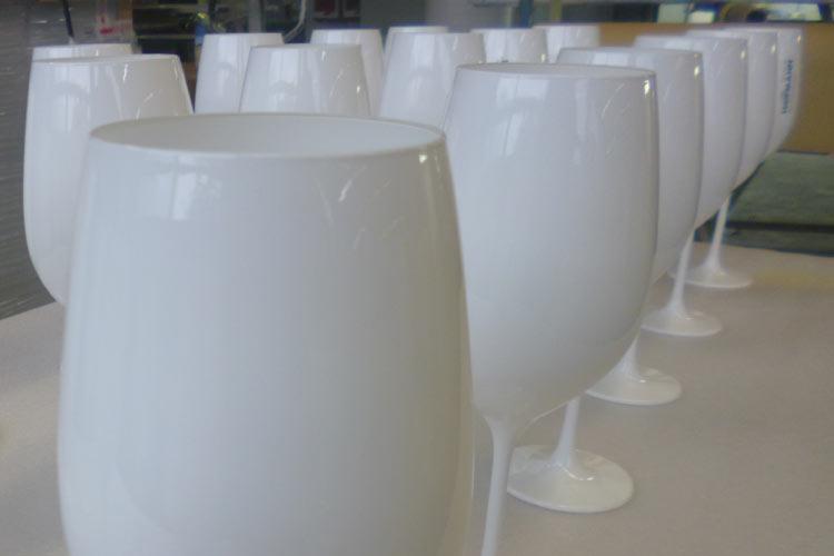Glaslackierung Weinglas weiss