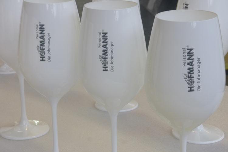 Glaslackierung Weinglasweiss Dekor Schrift