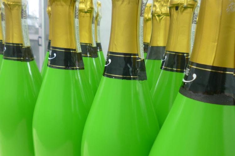 Glaslackierung Sektflaschen