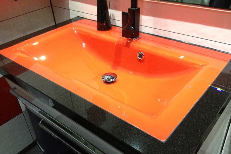 Glaslackierung Waschbecken-orange
